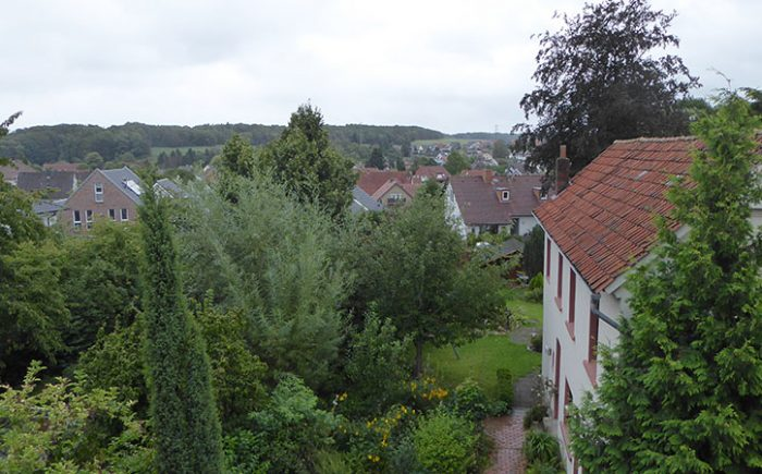 Blick über´s Land von der Loggia im Dachgeschoss
