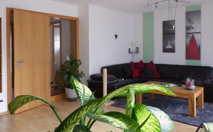 Wohnzimmer mit Tür und Glaselement zum Flur